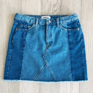 New Look Two-Tone Denim Skirt